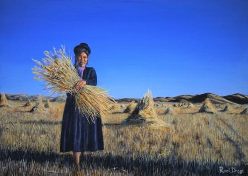 Graanoogst in Peru.Geinspireerd door een foto van Cesar Carlevarino Aragon
